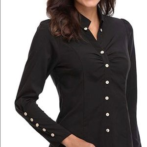 MissMoly Black Ruched Front Button Up Blouse